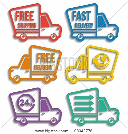 Free Delivery Vans Icons Set