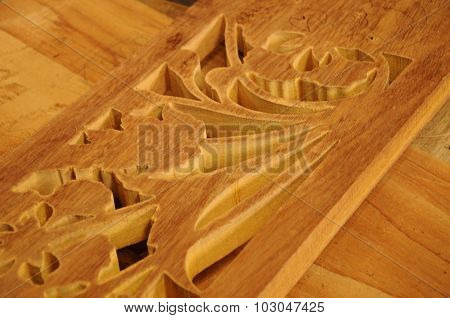 Malaysian traditional wood carving in progress