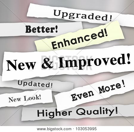 New and Improved newspaper headlines or announcements on a better product upgrade or update poster