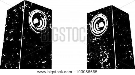 Grunge Sound-system Speaker Illustration Icon In Black And White