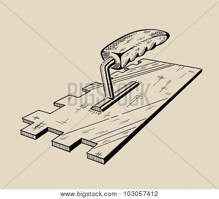 It is monochrome vector illustration of ladder.