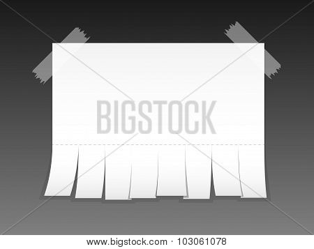 Blank Advertisement With Cut Slips. Vector Illustration