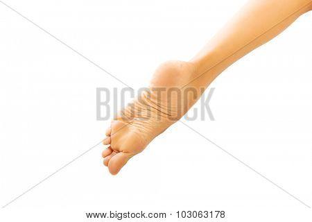 Close up on spa woman bare feet.