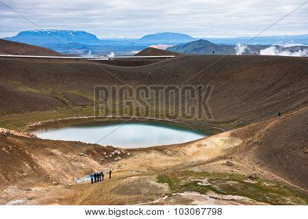 Volcano crater Viti with lake inside at Krafla volcanic area