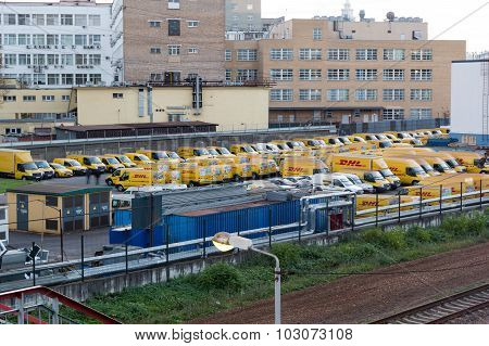 Moscow, Russia - September 26, 2015: Large Parking Lot Dhl Official Cars