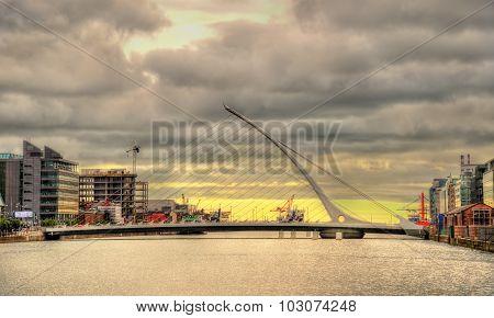 View Of Samuel Beckett Bridge In Dublin, Ireland
