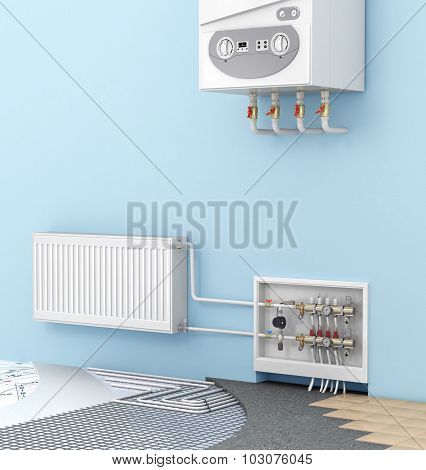 The Concept Of Warm Floor In A Room With A Wall-mounted Boilers And Radiators. Heating