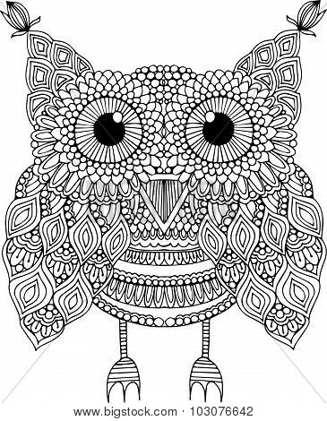 Hand drawn doodle outline owl illustration. Cute zentangle abstract owl