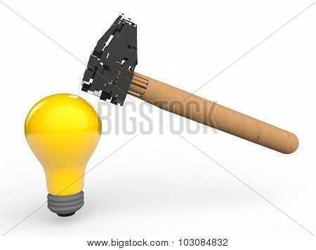 3d strong bulb and broken hammer