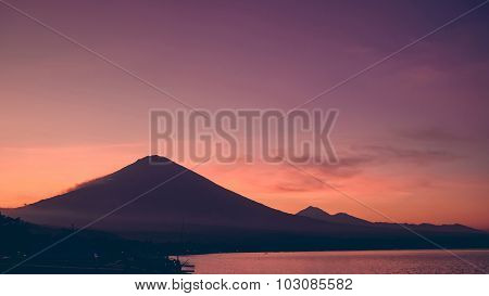 Sunset With View On Volcano