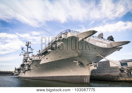 New York City - November 23, 2013: Navy Ship Uss Intrepid,  Also Known As The Fighting