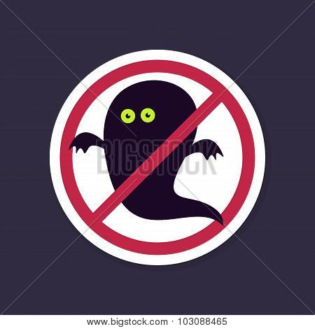 No, Ban or Stop signs. Halloween Ghost icon