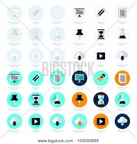 Office Icons Flat Design Set
