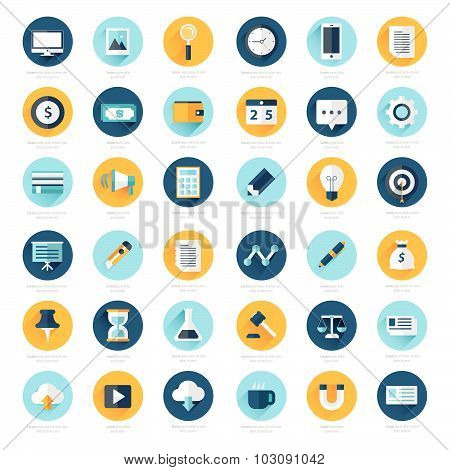 Business Set Of Flat Design Icons