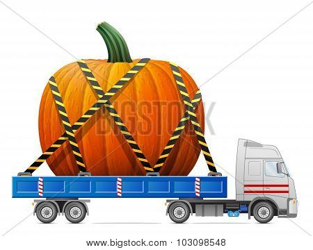 poster of Big winter squash in back of truck. Qualitative vector illustration for agriculture vegetables cooking halloween gastronomy thanksgiving olericulture etc. It has transparency blending modes gradients