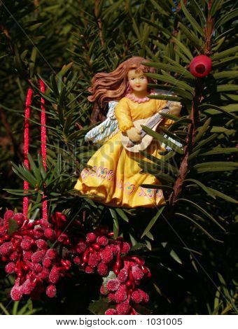Angel Ornament With Lute & Berries