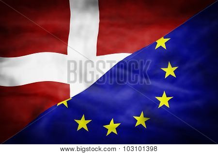 Wavy flag of Denmark and European Union fills the frame. poster