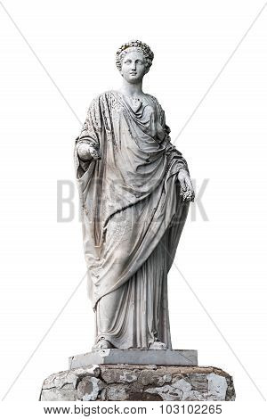 Marble statue of roman Ceres or greek Demeter isolated on white from the park of the Palace and park complex Estate of G. Galagan. Sokyryntsi village Ukraine