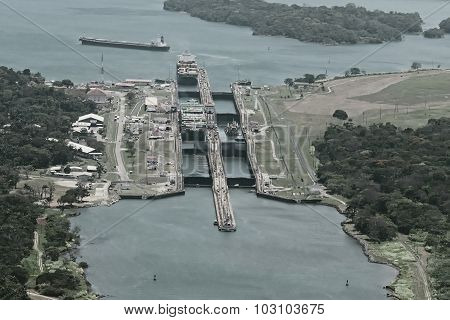 Cargo ships passing through Gatun Locks on the Atlantic side of the Panama Canal