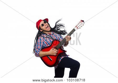 Man with dreadlocks holding guitar isolated on white poster