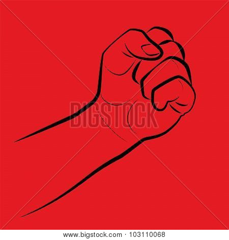 Clenched fist, threatening gesture. Illustration on red background. poster