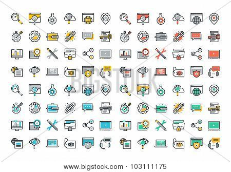 Flat line colorful icons collection of SEO