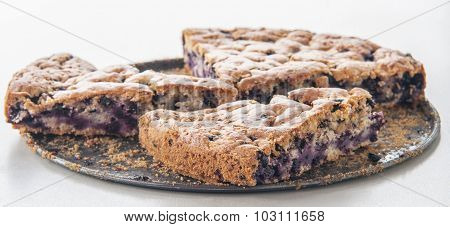 Delicious homemade sponge cake with wild blueberries