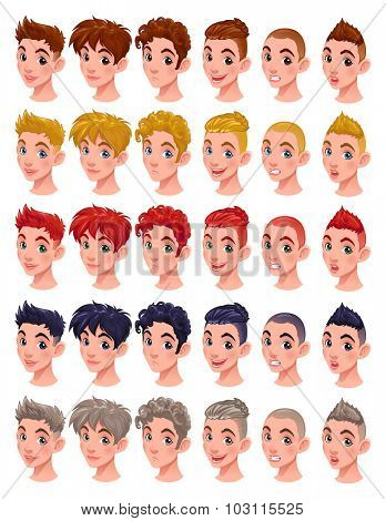 Avatar boys, vector isolated items. 6 hairstyles in 5 colors, 6 different mouths and 5 eye colors, in the vector file you can easily mix all these items.