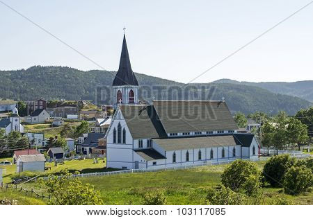 Partial view of the town of Trinity with Anglican church Newfoundland Canada poster