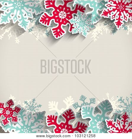 Christmas background with snowflakes, winter concept, illustration