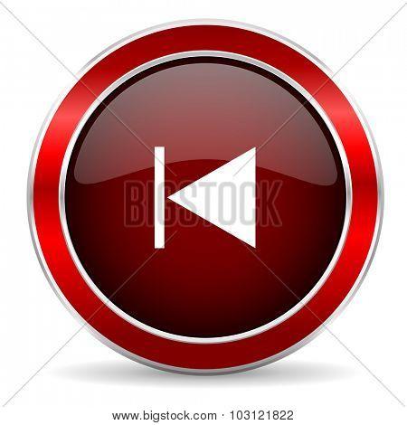 prev red circle glossy web icon, round button with metallic border