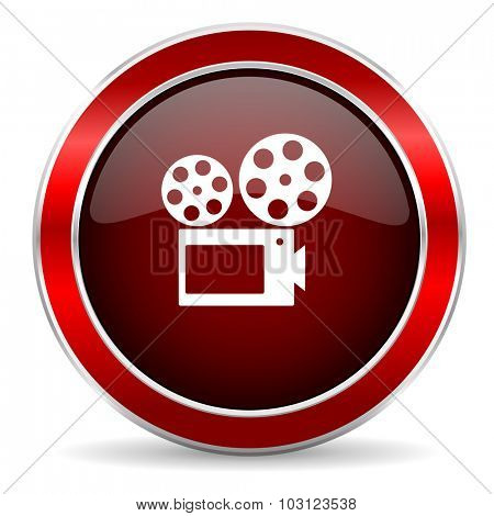 movie red circle glossy web icon, round button with metallic border