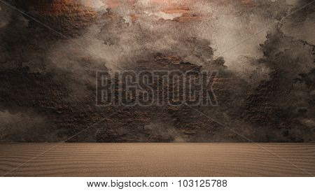 Rock Wall Background With Ground Dirty
