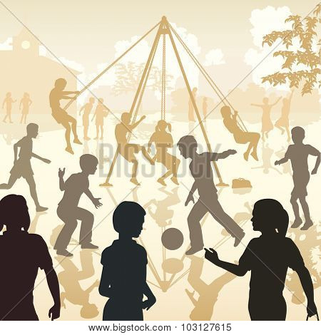 EPS8 editable vector illustration of children playing in a school playground