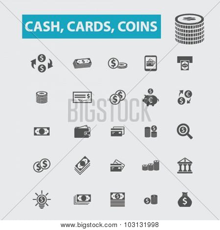 cash, cards, coins icons