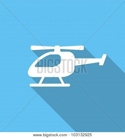 Illustration Simple Flat Icon of Helicopter with Long Shadow - Vector poster
