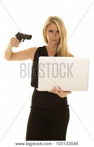 Blond Woman Black Business Dress Mad Point Gun At Computer