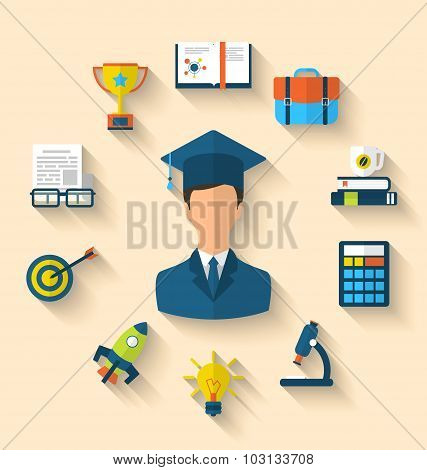 Flat icons of magister and objects for high school and college e