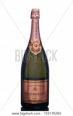 MIAMI, USA - March 24, 2015: A bottle of Louis Bouillot, Cremant de Bourgogne Rose - Perle d'Aurore.