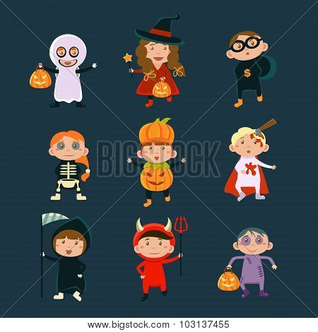 Children Wearing Halloween Costumes Vector Illustration