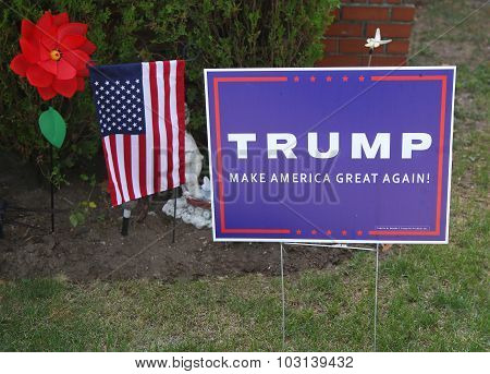 A lawn sign in support of presidential candidate Donald Trump