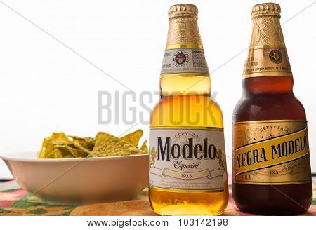 Cold Beer With Spicy Chips