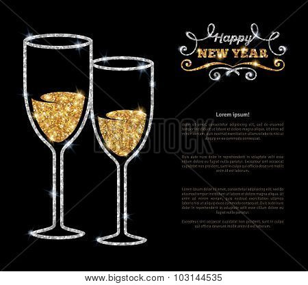 Champagne glasses glowing holiday background.