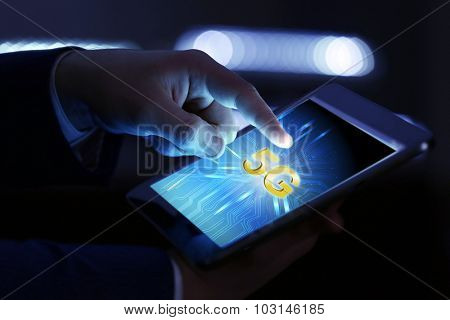 Business man use tablet PC on 5G high speed network communication internet.