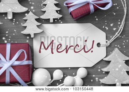 Christmas Label Gift Tree Snowflakes Merci Means Thank You