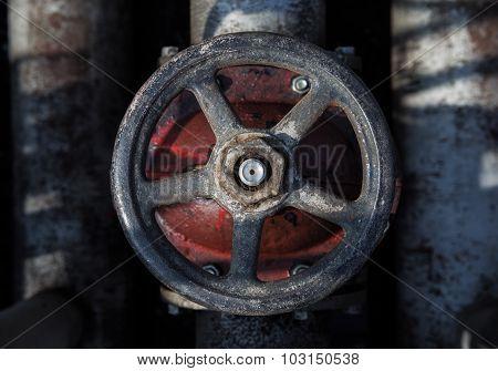old handwheel of valve. top view
