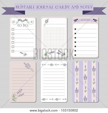 Printable journaling cards with lavender illustrations. Template for scrapbooking. Vector set of notes and to do list. poster