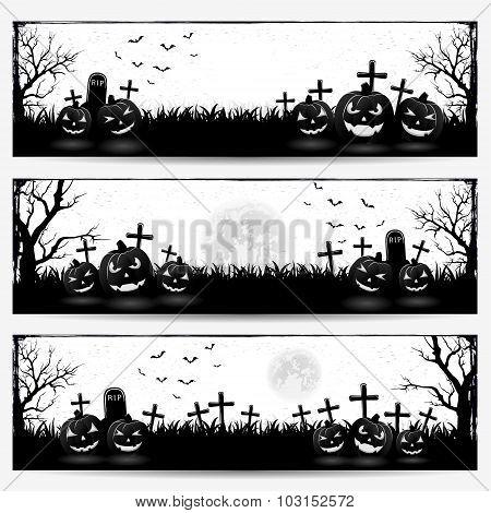 Banners With Halloween Pumpkins