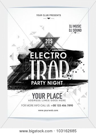 Creative abstract design decorated, Template, Banner or Flyer for Electro Trap Party Night celebration.
