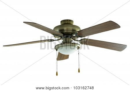 ceiling fan isolated on white with clipping path poster